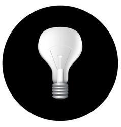 realistic light bulb on black vector image