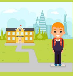 school boy pupil education building student vector image vector image