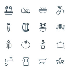set of 16 gardening icons includes root water vector image