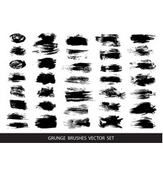 set of black paint ink brush strokes vector image vector image