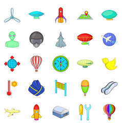 space flight icons set cartoon style vector image