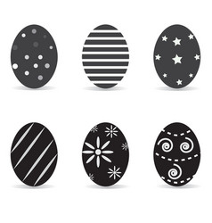 A set of black-and-white easter eggs easter eggs vector