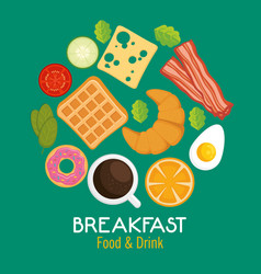 Brakfast concept with food and drinks vector