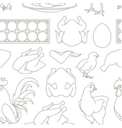 Chicken icons pattern vector
