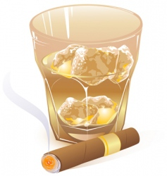 glass of whiskey and cigar vector image vector image