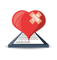 Heart with look at medical diagnostic prescription vector