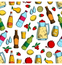 Non-alcoholic drinks with fruits seamless pattern vector image vector image