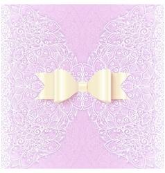 Ornate lacy wedding invitation card cover vector