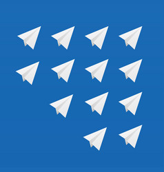 paper airplane white set vector image vector image