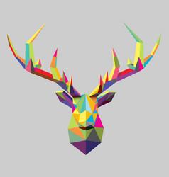 polygonal stag head vector image