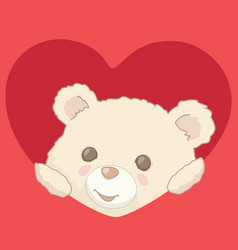 teddy bear peeking from heart valentines day card vector image