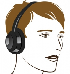 young man listening music vector image