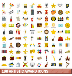 100 artistic award icons set flat style vector image