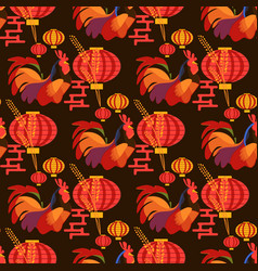 chinese new year rooster pattern vector image vector image