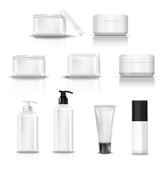 empty and clean white plastic containers vector image