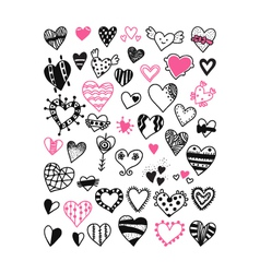 set of hand drawn heart symbols vector image