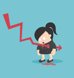 concept graph stock falls or for business woman vector image
