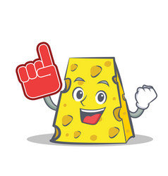 Foam finger cheese character cartoon style vector