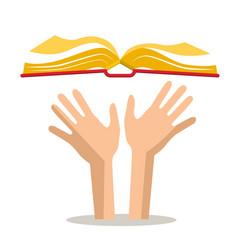 Human hands with open book vector