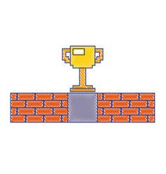 pixel trophy prize game brick wall vector image vector image