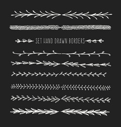 Set hand drawn line border vector