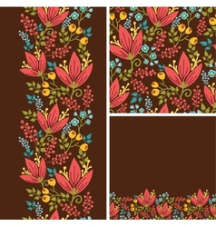 Set of autumn flowers seamless pattern and borders vector image