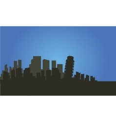 Silhouette of city and pisa tower vector