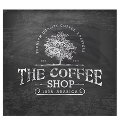 Vintage Coffee Shop Typographic Element on Chalkbo vector image