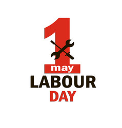 1 may - labour day logo concept with wrenches vector