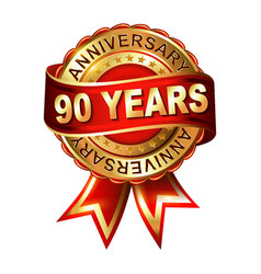 90 years anniversary golden label with ribbon vector image
