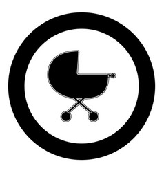 Baby carriage icon black color in circle vector