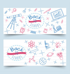 back to school line art on notebook paper banners vector image