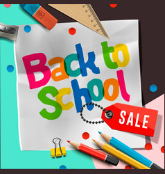 Back to school sale banner design with lettering vector