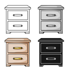 Bedside table icon in cartoon style isolated on vector