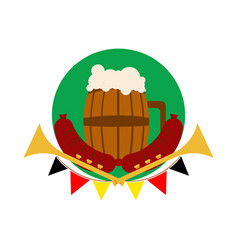 beer barrel glass oktoberfest vector image