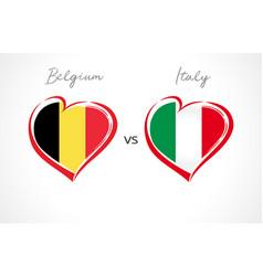 belgium vs italy flag emblem vector image