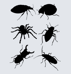 black bugs silhouette vector image