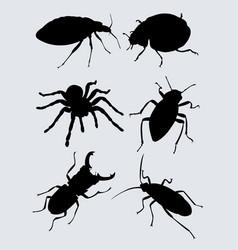 Black bugs silhouette vector