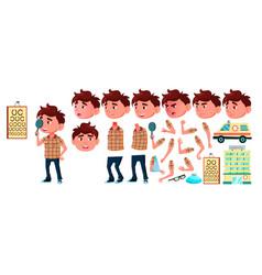 Boy kindergarten kid animation set vector