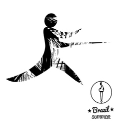 Brazil summer sport card with an abstract fencer i vector