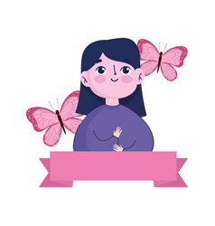 breast cancer awareness month woman cartoon vector image