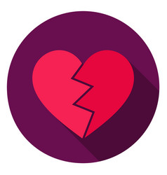 Broken heart circle icon vector