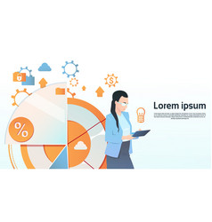 Businesswoman hold tablet computer visualization vector