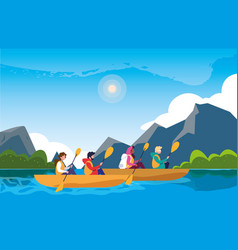 Campers in beautiful landscape scene with kayaks vector
