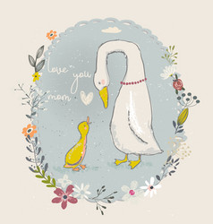 Cartoon goose and gosling vector
