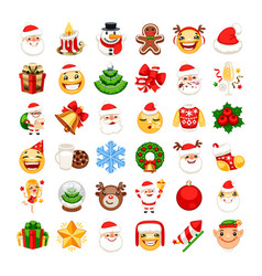 christmas emojis set vector image
