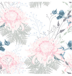 Chrysanthemum fern and herbs pattern vector