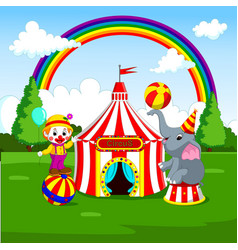 circus elephant and clown with carnival background vector image