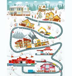 City landscape winter day vector