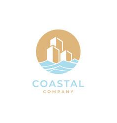 coastal with building logo design vector image